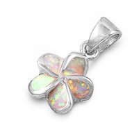 Flower Simulated Opal Pendant Sterling Silver  12MM