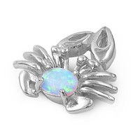 Crab Simulated Opal Pendant Sterling Silver  18MM