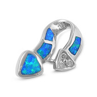 Double Heart Simulated Opal Pendant Sterling Silver  27MM