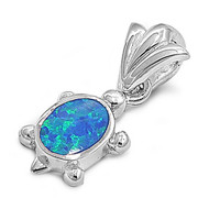 Turtle Simulated Opal Pendant Sterling Silver  14MM