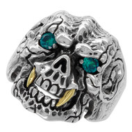Beast with Gold-Tone Fangs Skull Ring Sterling Silver 925 Simulated Aqua Blue Cubic Zirconia Eyes