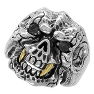 Beast with Gold-Tone Fangs Skull Ring Sterling Silver 925 Black Cubic Zirconia Eyes