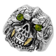 Beast with Gold-Tone Fangs Skull Ring Sterling Silver 925 Olive Green Cubic Zirconia Eyes