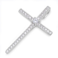 Cross Cubic Zirconia Pendant Sterling Silver  27MM