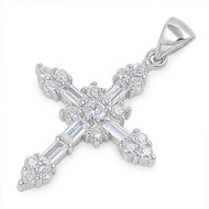 Gothic Cross Cubic Zirconia Pendant Sterling Silver  28MM