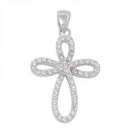Knot Cross Cubic Zirconia Pendant Sterling Silver  26MM