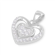 Double Heart Cubic Zirconia Pendant Sterling Silver  13MM