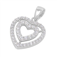Double Heart Cubic Zirconia Pendant Sterling Silver  16MM