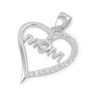 Mom Heart Cubic Zirconia Pendant Sterling Silver  20MM