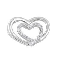 Double Heart Cubic Zirconia Pendant Sterling Silver  15MM