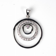 Triple Circle Cubic Zirconia Pendant Sterling Silver  38MM