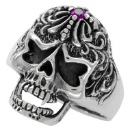 Victorian Widow Skull Ring Purple Cubic Zirconia Sterling Silver 925