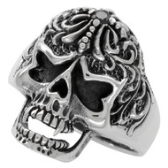 Victorian Widow Skull Ring Black Cubic Zirconia Sterling Silver 925