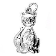 Cat Cubic Zirconia Pendant Sterling Silver  20MM