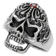 Victorian Widow Skull Ring Simulated Ruby Red Cubic Zirconia Sterling Silver 925