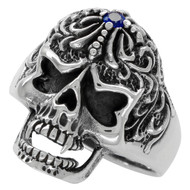 Victorian Widow Skull Ring Simulated Sapphire Blue Cubic Zirconia Sterling Silver 925