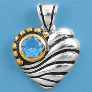 Jazz Age Eye of the Heart Simulated Aquamarine Cubic Zirconia Pendant Sterling Silver  20MM