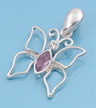 Butterfly Simulated Amethyst Cubic Zirconia Pendant Sterling Silver  18MM