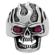Ultra Deathflame Skull Ring Sterling Silver 925 Simulated Garnet Red Cubic Zirconia Eyes