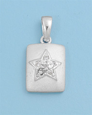 Star Cubic Zirconia Pendant Sterling Silver  14MM
