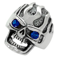 Ultra Deathflame Skull Ring Sterling Silver 925 Simulated Sapphire Blue Cubic Zirconia Eyes