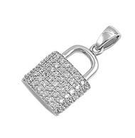 Lock Cubic Zirconia Pendant Sterling Silver  20MM