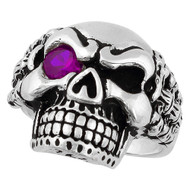 Bad Bones Skull Sterling Silver 925 Purple Cubic Zirconia Eye