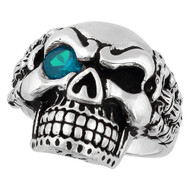 Bad Bones Skull Sterling Silver 925 Simulated Aqua Blue Cubic Zirconia Eye