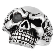Bad Bones Skull Sterling Silver 925 Black Cubic Zirconia Eye