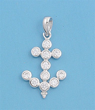 Anchor Cubic Zirconia Pendant Sterling Silver  18MM