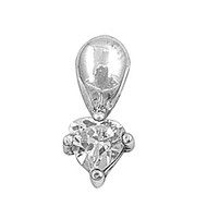 Heart Cubic Zirconia Pendant Sterling Silver  14MM