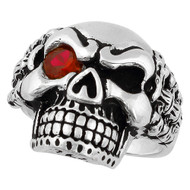 Bad Bones Skull Sterling Silver 925 Simulated Ruby Red Cubic Zirconia Eye