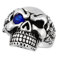 Bad Bones Skull Sterling Silver 925 Simulated Sapphire Blue Cubic Zirconia Eye
