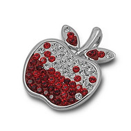 Apple Simulated Garnet Cubic Zirconia Pendant Sterling Silver  22MM