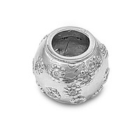 Jar Cubic Zirconia Pendant Sterling Silver  12MM