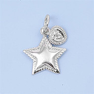 Heart Star Cubic Zirconia Pendant Sterling Silver  14MM