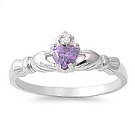 Benediction of the Claddagh Simulated Amethyst Cubic Zirconia Ring Sterling Silver 925