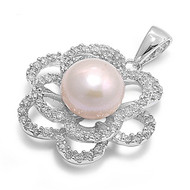 Flower Simulated Pearl Cubic Zirconia Pendant Sterling Silver 19MM