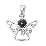 Angel Simulated Onyx Cubic Zirconia Pendant Sterling Silver  17MM