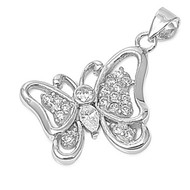 Butterfly Cubic Zirconia Pendant Sterling Silver  18MM
