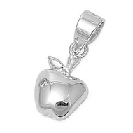 Apple Cubic Zirconia Pendant Sterling Silver  10MM