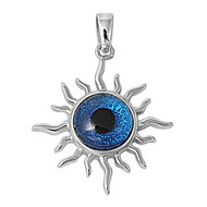 All Seeing Evil Eye Cubic Zirconia Pendant Sterling Silver  27MM