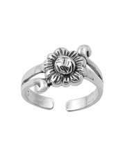 Flower 1Knuckle/Toe Ring Sterling Silver  13MM