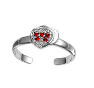 Heart Knuckle/Toe Ring Simulated Ruby Cubic Zirconia Sterling Silver  6MM