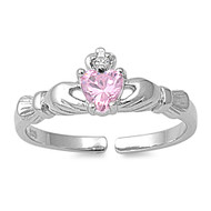 Benediction of Claddagh Heart Knuckle/Toe Ring Pink Cubic Zirconia Sterling Silver  7MM