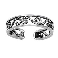 Half Infinity Symbol Filigree Knuckle/Toe Ring Sterling Silver  4MM