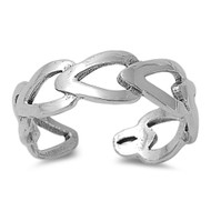 Elongated Hearts Knuckle/Toe Ring Sterling Silver  5MM