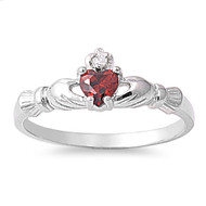 Benediction of the Claddagh Simulated Garnet Cubic Zirconia Ring Sterling Silver 925