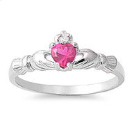 Benediction of the Claddagh Simulated Ruby Cubic Zirconia Ring Sterling Silver 925