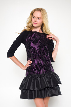 Angels Grooming Apparel - Zoe Ruffled Apron - Damask Flocked Purple